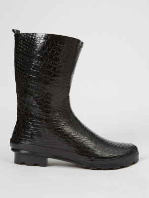 Black Mock Croc Calf High Wellington Boots