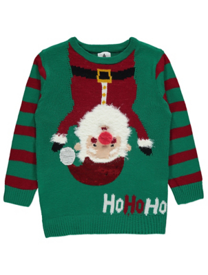 Green Santa Sequin Christmas Jumper
