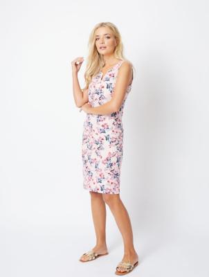 Pink Floral Linen Blend Midi Dress