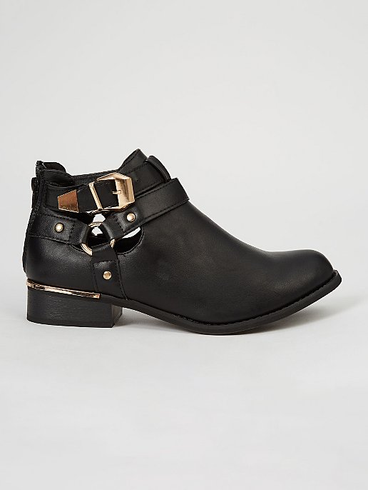 9e5be7a3457ea Krush Black Gold Tone Detail Ankle Boots   Women   George