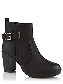 c1af53490a0 Krush Black Heeled Buckle Ankle Boots