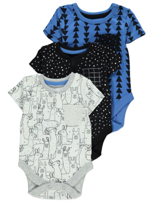 Blue and White Pattern Print Bodysuits 3 Pack