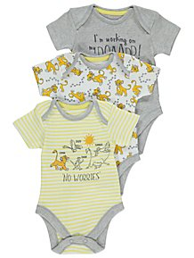 368464f587f Disney The Lion King Yellow Bodysuits 3 Pack