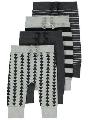 Grey Pattern Print Jogging Bottoms 4 Pack