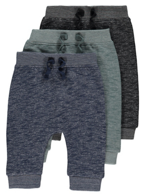 Navy Marl Joggers 3 Pack