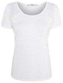 e5fce284be8c White Lace Shoulder Short Sleeve Top