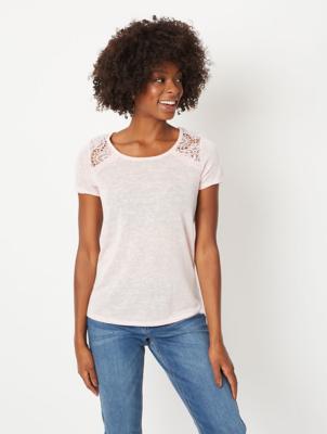 Pink Lace Insert Linen Look T-Shirt