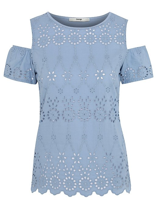 70d98f6795583 Blue Broderie Anglaise Cold Shoulder Top