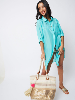 Turquoise Shirt Dress Cover Up