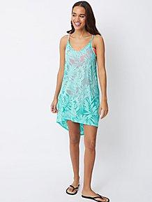 bdf06e56d2918 Turquoise Palm Print Cover Up Dress