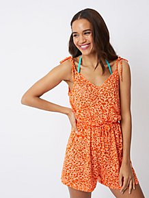 ad7eccda181 Orange Leopard Print Playsuit