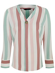 1ed50181249807 Pastel Stripe Button Detail Blouse