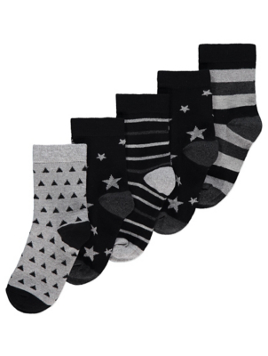Black and White Star and Stripe Ankle Socks 5 Pack