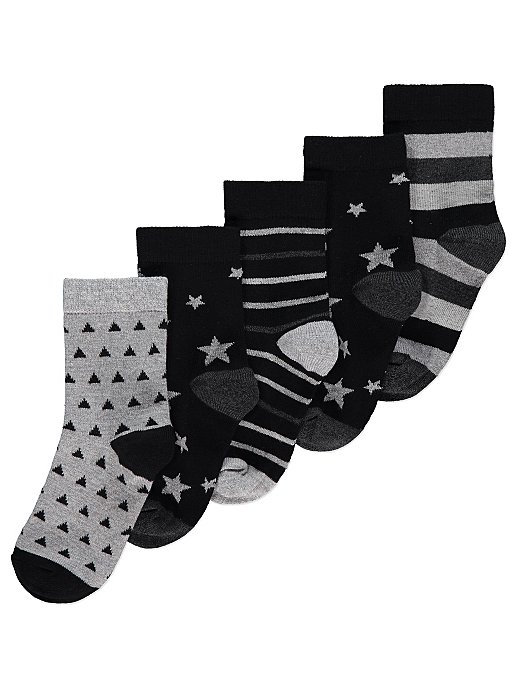 8226d757f Black and White Star and Stripe Ankle Socks 5 Pack | Kids | George