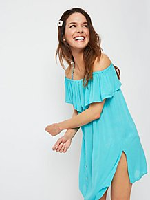 5253dfaf7 Aqua Blue Frill Detail Bardot Cover Up Dress