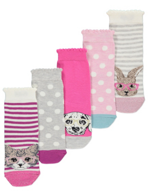 Glitter Cat and Dog Ankle Socks 5 Pack