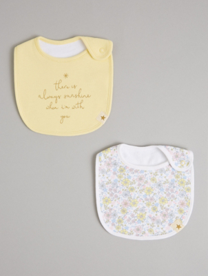 Billie Faiers Yellow Floral and Slogan Bibs 2 Pack