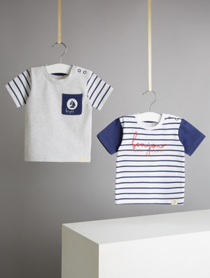 Billie Faiers Navy Nautical Striped T-Shirts 2 Pack
