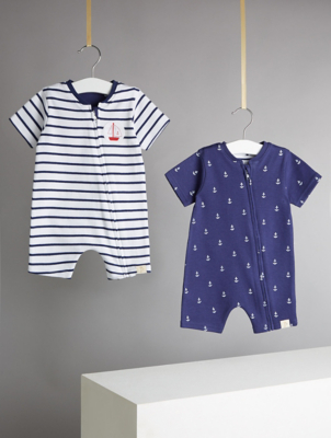 Billie Faiers Nautical Anchor Print Jersey Rompers 2 Pack