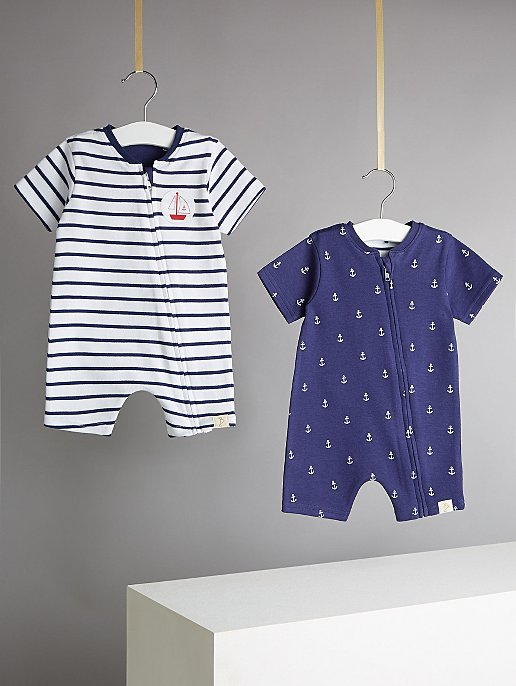 c0938e382 Billie Faiers Nautical Anchor Print Jersey Rompers 2 Pack   Baby ...