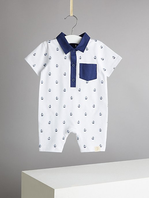 86e6a5eab Billie Faiers White Ship Print Jersey Romper   Baby   George