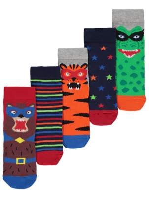 Animal Mask Ankle Socks 5 Pack