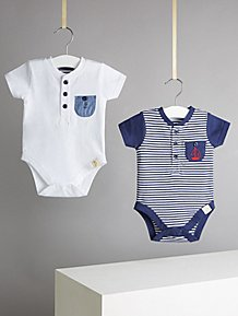 c3aafa238 Grey Check Dungarees Bow Tie and Polo Bodysuit. (0). Billie Faiers Blue  Nautical Bodysuits 2 Pack