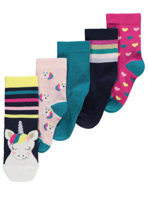 Assorted Unicorn Ankle Socks 5 Pack