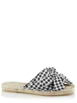 Woven Square Toe Black Gingham Slide Sandals