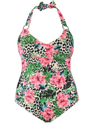 Plus Size Pink Leopard Print Tummy Control Swimsuit