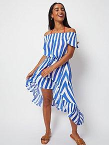 dca4b16fe Blue Striped Waterfall Hem Maxi Cover Up Dress