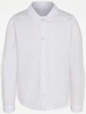 Girls White Picot Trim Long Sleeve School Blouse