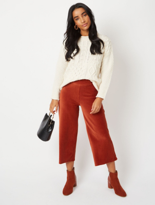 Burnt Orange Ribbed Culottes
