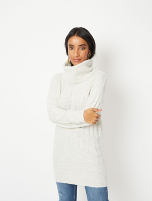Light Grey Roll Neck Lightweight Jumper