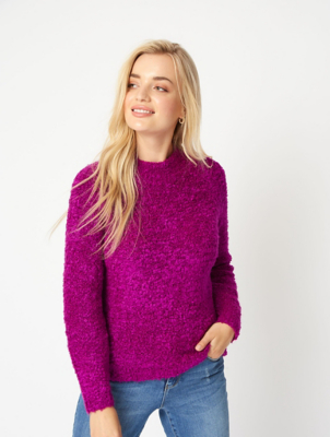 Magenta Bouclé Knit Jumper