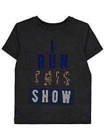 8bdd84f9 Charcoal Swipe Sequin Slogan T-Shirt