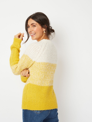 Yellow Ombré Textured Jumper