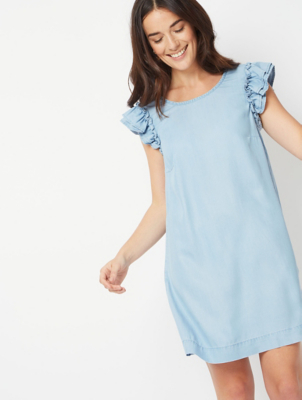 Light Wash Denim Frill Midi Dress