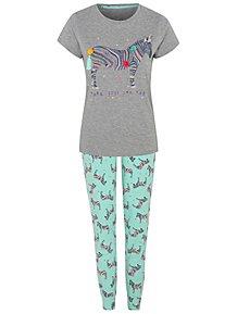 31b28fb1af Grey Marl Zebra Pom Pom Pyjamas