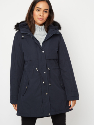 Navy Faux Fur Trim Borg Lined Parka