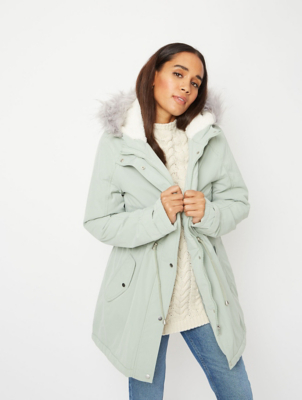 Sage Green Faux Fur Trim Borg Lined Parka