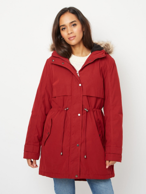 Red Faux Fur Trim Borg Lined Parka