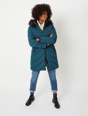 Teal Faux Fur Hood Longline Padded Coat