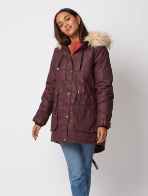 Plum Faux Fur Lined Wax Effect Parka