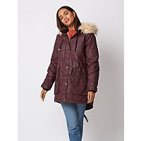 Plum Faux Fur Lined Wax Effect Parka by Asda