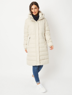 Cream High Neck Longline Padded Coat