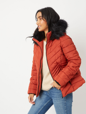 Burnt Orange Faux Fur Trim Chevron Padded Coat