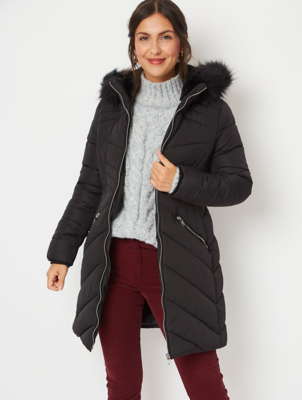 Black Faux Fur Hood Longline Padded Coat