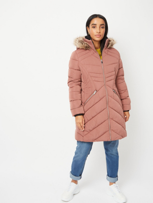 Dusty Pink Faux Fur Hood Longline Padded Coat