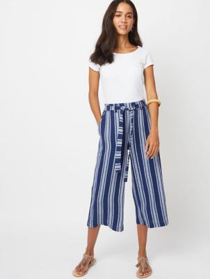 Linen Blend Navy Stripe Culottes
